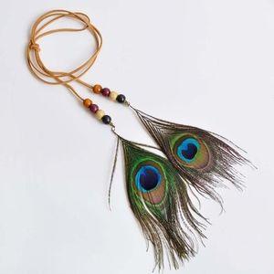 Jewelry - Boho Peacock Feather Headband Tan Suede Necklace
